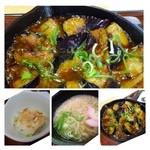 うちだ屋 - 麻婆茄子は程よい辛さで美味しい。茄子タップリでボリュームがあります。 うどんは出汁は普通に美味しいですが、麺がやわ麺で好みではありません。