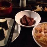 34251803 - おにぎりと野菜食べ放題(1000円) 牛蒡の揚げ浸しとえのきのてんぷらを共に。