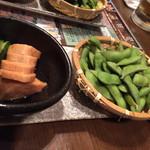 坐・和民 - コースの枝豆と長芋醤油漬け。