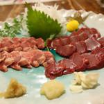 ふれ愛軽井沢 - 2013年7月 馬刺しいろいろ。ニンニクがよく合います♪