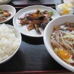 34257885 - 日替わりランチ(醤油ラーメン+茄子の味噌炒め)¥700@'14.3.中旬