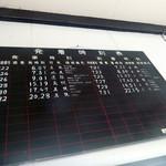 相生物産館 - 旧駅舎の中/昔の時刻表