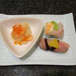 寿司バー・ロイズ - レッドちらし、鴨ロース、レインボーロール