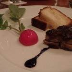 麻布淺井 - フォアグラと奈良漬のサンド 自家製ブリオッシュ、バルサミコの和風ソース