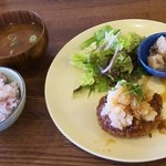 34281425 - ゆずぽんおろしバーグ定食(1250円)…ゆずぽんおろしハンバーグ、サラダ、付け合わせ、黒米ごはん、味噌汁
