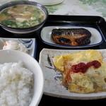 大衆食堂 なかじま - オムレツ、サバ塩焼、とん汁、めし小