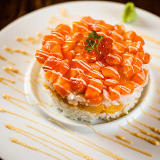 記念日に!サーモンと帆立の重ね寿司で