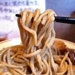 豚星。 - 麺は加水低めの自家製平打ストレートな中太麺。 ごちそうさまでした! 早い復活を期待しています。