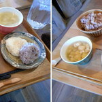 cafe ななつき - 多治見市cafeななつきのランチ 出汁巻卵とおむすびプレート700円、7種のベジプレート1000円2015.1.18撮影