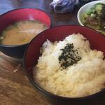 かざみどり風流 - 定食のご飯、味噌汁