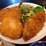 竿灯 - 鯵と白身魚フライ定食 ¥750 の鯵と白身魚フライ