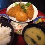竿灯 - 鯵と白身魚フライ定食 ¥750