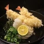 柔製麺 - 海老天ぶっかけ・生醤油(冷・温) 990円