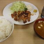 一心 - 上焼き肉ライス(味噌汁付き、840円)