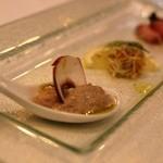 グランシェール 葉山庵 - アミューズ ①マッシュルームのムース ②シラスととびこ ③