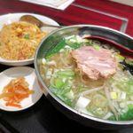 豊澤園 - 麺飯セット(塩汁ラーメン+キムチ炒飯)750円