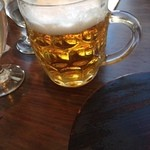 つばめグリル - サッポロ生ビール中ジョッキ640円はさんごー缶くらいの量?(^^;)