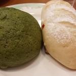 34353506 - 宇治抹茶メロンパンとホワイトチョコフランスパン