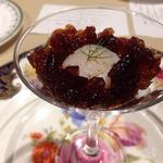 レストラン 香松 - 滋味深いコンソメのジュレ 栗・焼きナス・帆立を合わせて