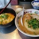 天下一品 - 天津定食900円(並ラーメン+天津飯ミニ)ゆで卵は1個サービス