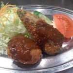 レストランかのう - ミンチカツと茄子の挟みフライ