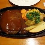 かまやカフェ・デュ・レヴァベール - 前日光牛使用かまや特製ハンバーグセット1,640円 ライス、スープ、サラダ付き