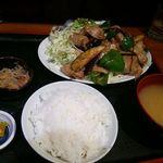 上州屋 - 豚バラなすピーマンしょうが炒め定食