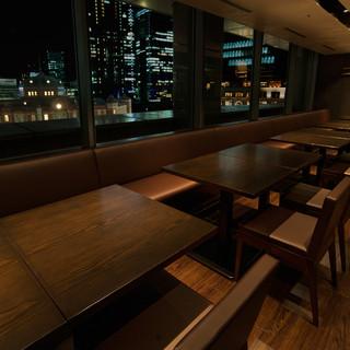 丸ビル6階、東京駅駅舎が一望できる個室有。貸切30名様~
