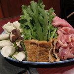 北野坂 しばはら - 麺しゃぶ(二人前)(豚・鶏・餃子・椎茸・アゲ・白菜・菊菜)