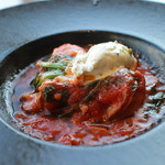 アロマフレスカ - 牡蠣のオーブン焼きアラピアーソースマスカルポーネチーズ添え