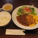 34432020 - ハンバーグ+ふわとろオムレツ(2014.09)