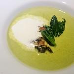 レストラン・カワサキ - ターツァイと牡蠣のスープ