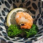 ぎゃらりぃ栞屋 - 海老と菜の花の梅ゼリー