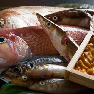 近海産の魚介類