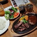 サザンラウンジ - ランチ「サザンカットステーキ&手こねハンバーグ (1380円)」