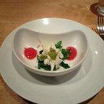 3447926 - 白魚、山芋、蕗の薹、菜の花、トマトピューレのアミューズ