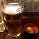 34475949 - 付出しに、生ビール(アサヒスーパードライ)(208円)。