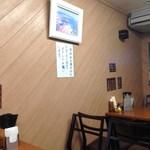 馬場南海 - テーブル席と壁に全品目玉焼き付き張り紙