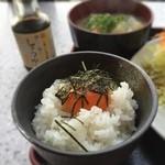 達人村喫茶山ぼうし - 豚汁セット(豚汁・卵かけごはん)700円