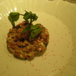 牛もも肉と生牡蠣のタルタルステーキ エスプレット風味