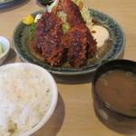 有の実 - ミックスフライ(海老&串カツ&牡蠣)定食¥1260@'13.12.中旬