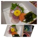 34512933 - お刺身は「鯛」「カンパチ」「鮭」、、厚い切り身ですよ。鮭が美味しい。