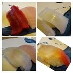 奴寿司 - *赤身・カンパチ・烏賊・ひらめかしら・ホッキ・・きれいな握りではないですが、ネタは大きめです。