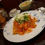 34549276 - えび・アスパラの塩麹トマトソース(スープ・サラダ・ドリンク付き)¥1430