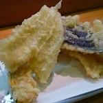 美代寿司 - ランチにぎりセットの天ぷら なす かぼちゃ きす
