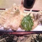 本味楽 - 天ぷら 盛り合わせ アップ♪w (穴子 / 蟹 / 海老 / キス / 大葉 / 舞茸 / 茄子)