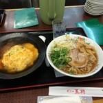 餃子の王将 - 天津飯コンビ810円(ミニ天津飯&醤油ラーメン)