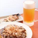 お好み焼き タンポポ - 生ビールセットお好み焼