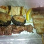 34613067 - 上から、「葱間」、「椎茸肉詰」、「レバ」、右側「アスパラ豚肉巻」