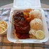 BOB'S BAR-B-QUE - 料理写真:Hibachi chicken combo(Fried shrimp)、Scallopも選べます。右下の容器はタルタル。